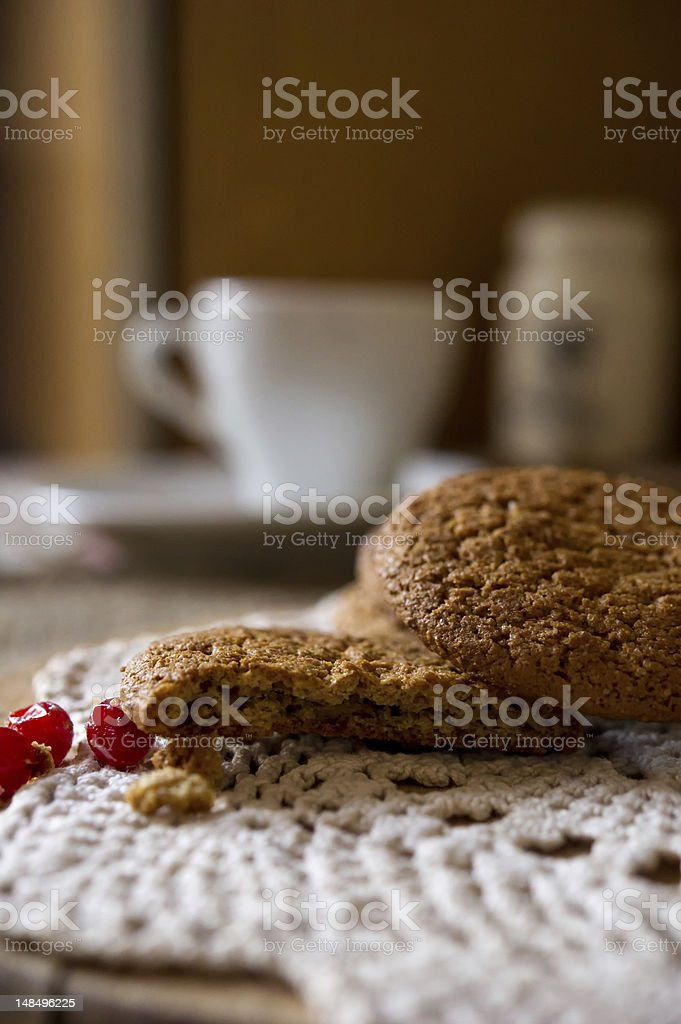 Oatmeal cookies with cranberries on knitting cloth royalty-free stock photo