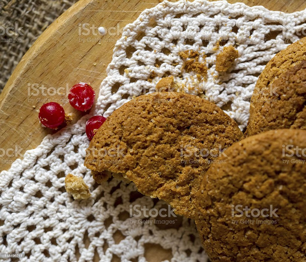 Oatmeal cookies with cranberries royalty-free stock photo