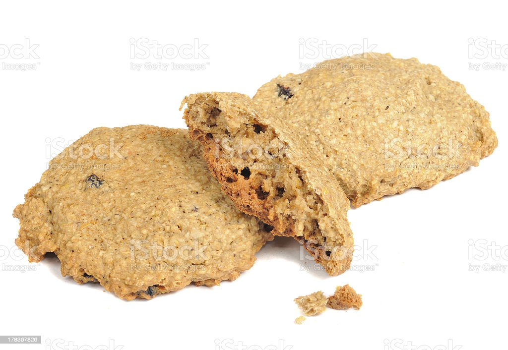 Oatmeal Cookies with Crumbs Isolated on White Background royalty-free stock photo