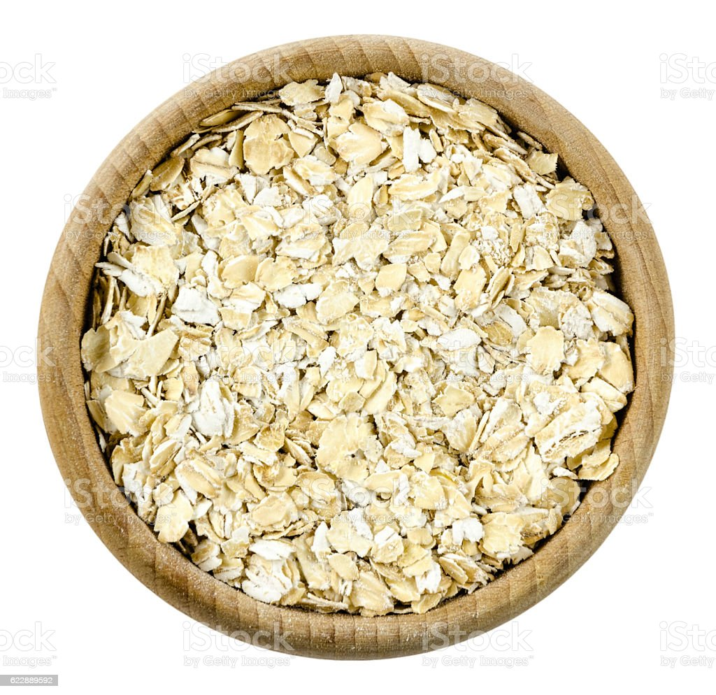 oatmeal in pot isolated stock photo