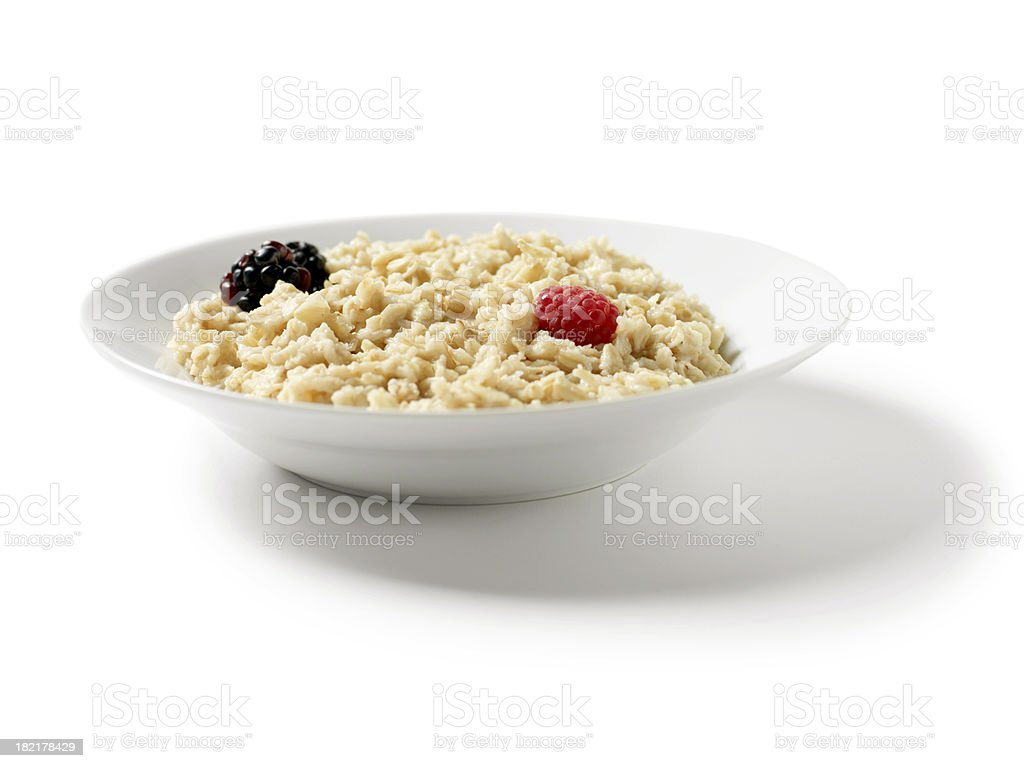 Oatmeal Porridge with Blackberries royalty-free stock photo