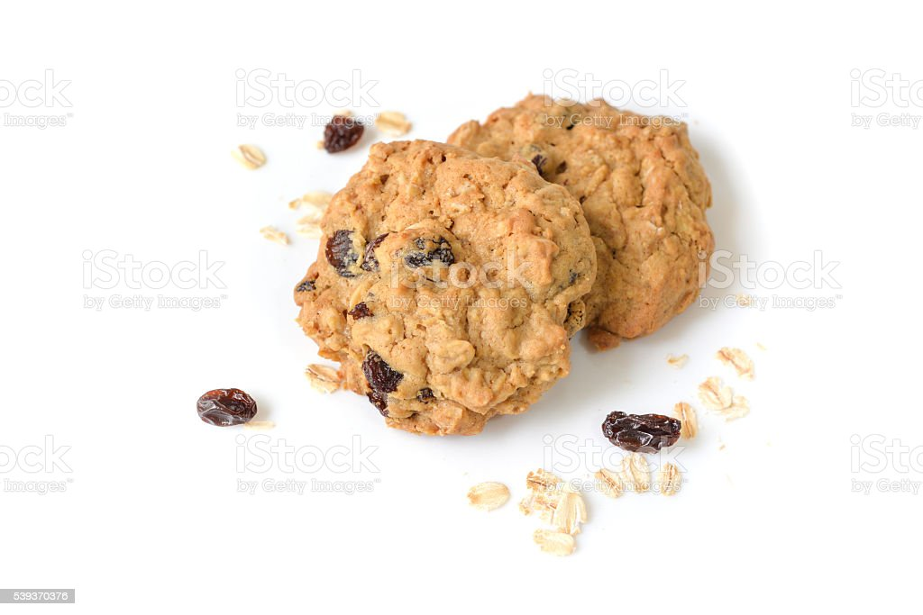 Oatmeal raisin cookies on white background - isolated stock photo