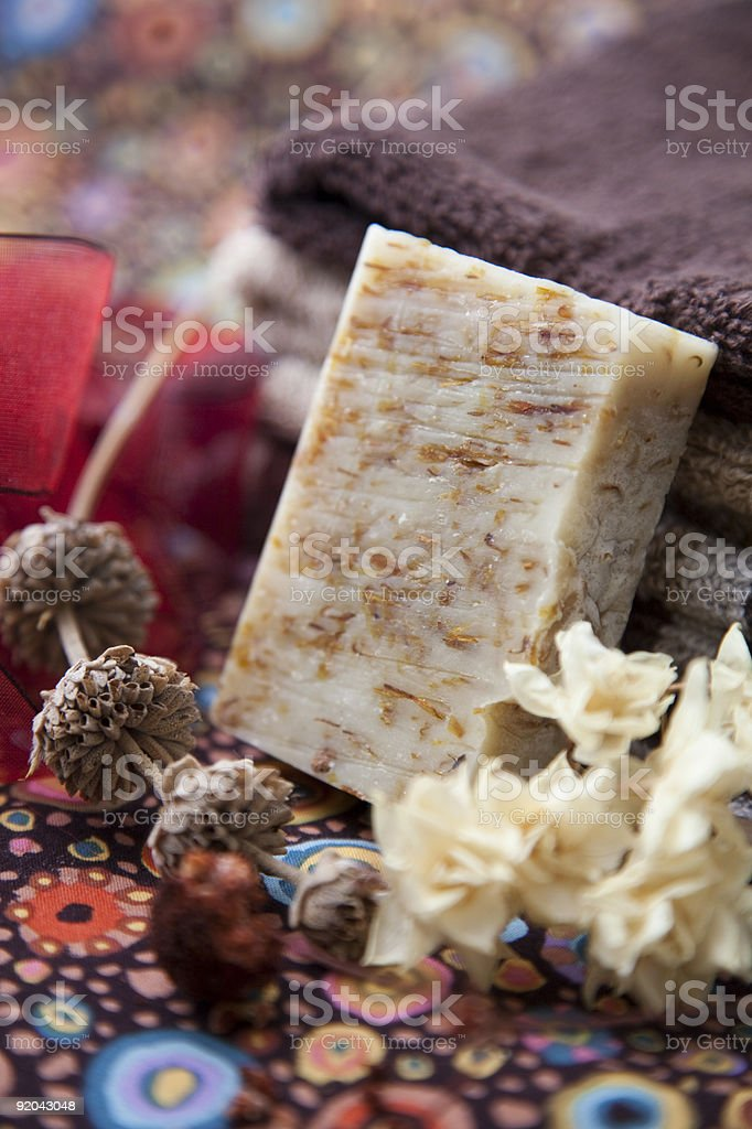 Oatmeal soap bar - hand made and all natural stock photo