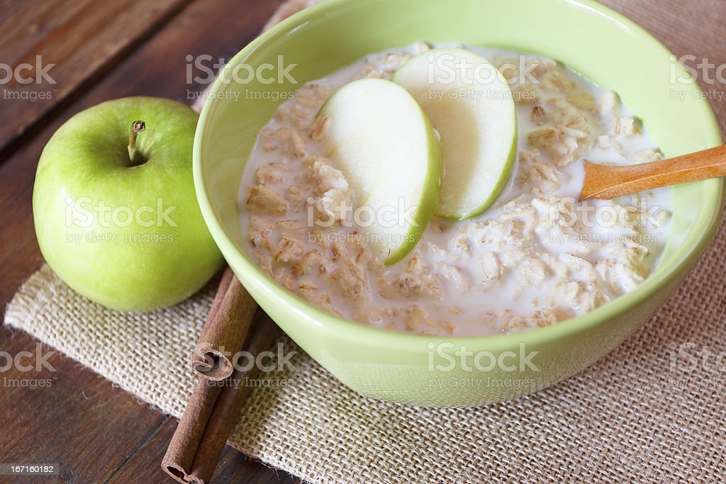 oatmeal with apples stock photo
