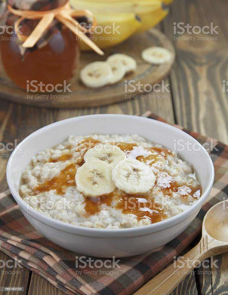 Oatmeal with bananas royalty-free stock photo