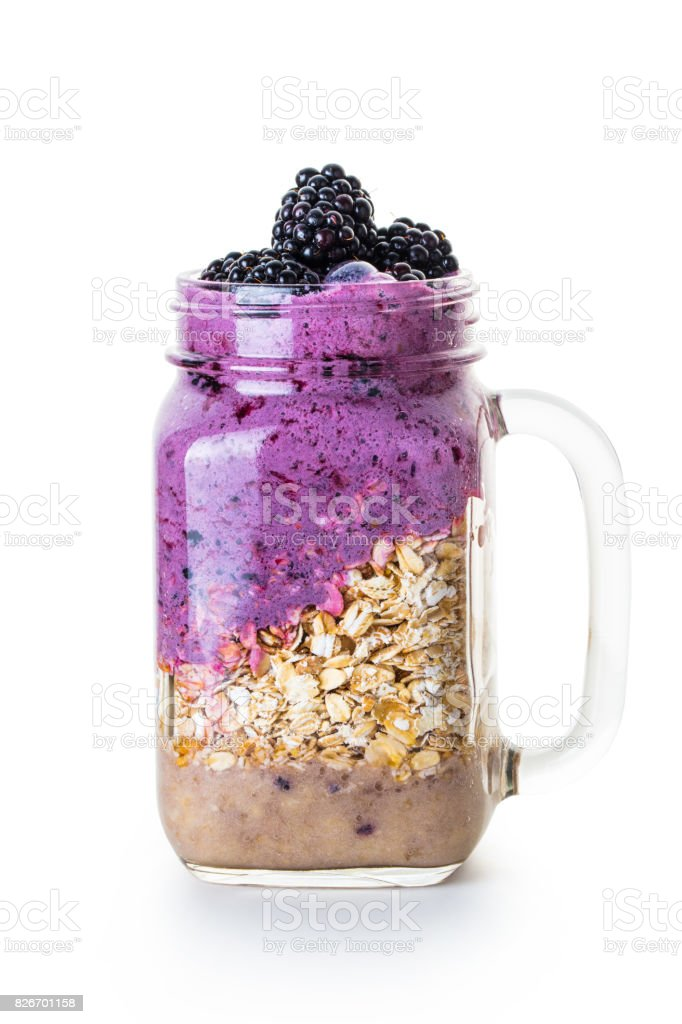 Oatmeal with blueberries in a jar stock photo