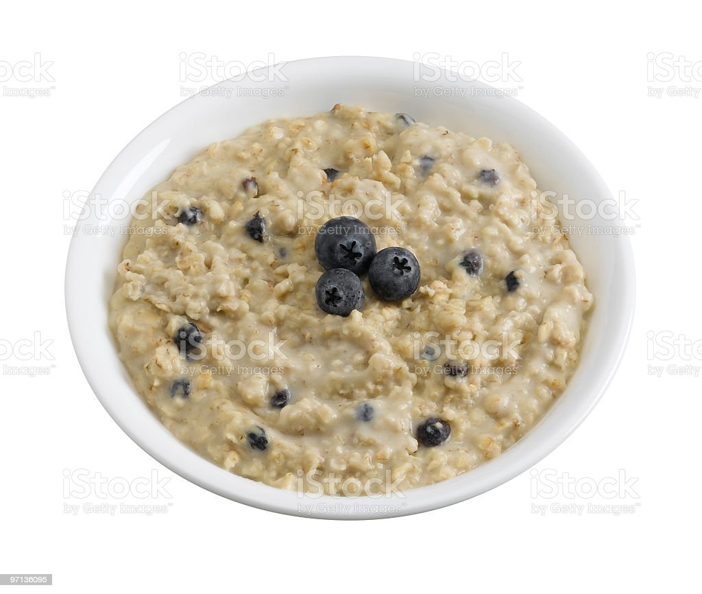Oatmeal with Blueberries royalty-free stock photo