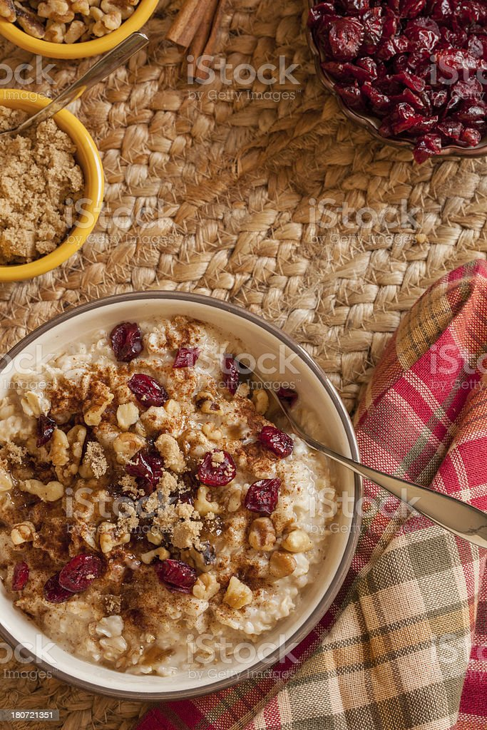 oatmeal with dried cranberries and walnuts royalty-free stock photo