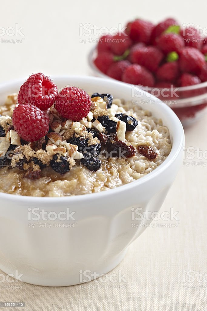 Oatmeal with fruit royalty-free stock photo