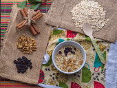 Oatmeal with ingredients.