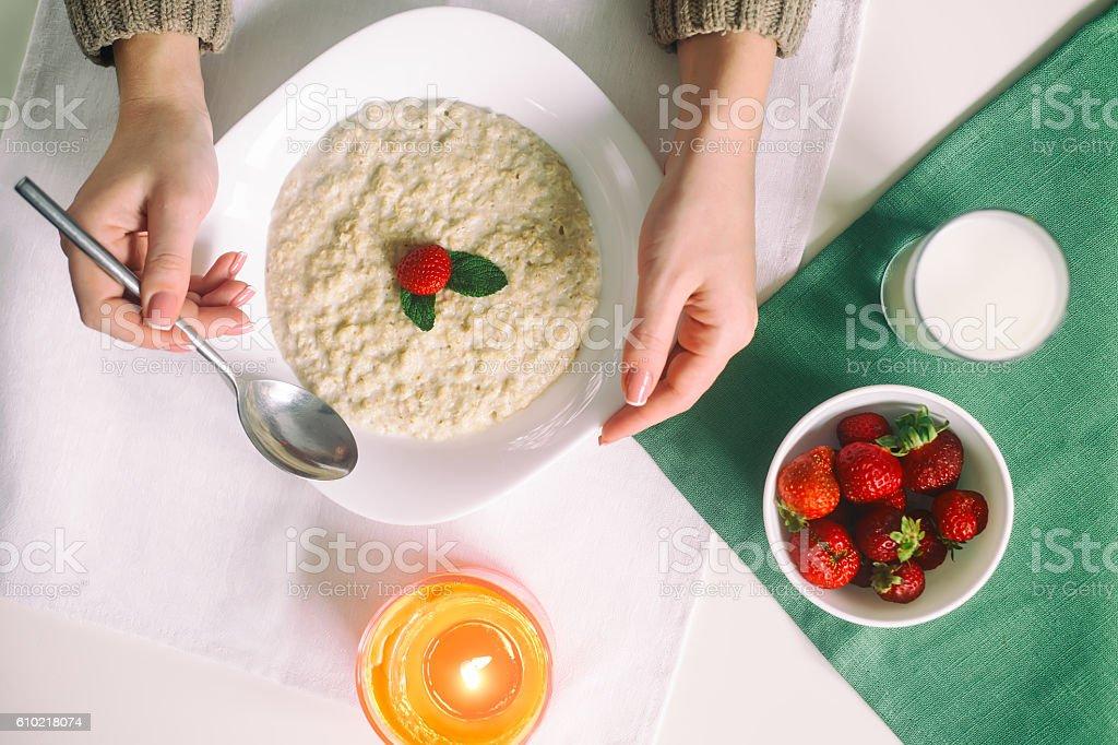 Oatmeal with milk. Porridge with milk. Cereals, delicious Breakfast, diet stock photo