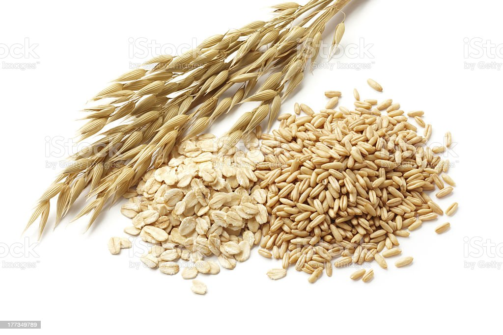 Oats and loose grains on a white background stock photo