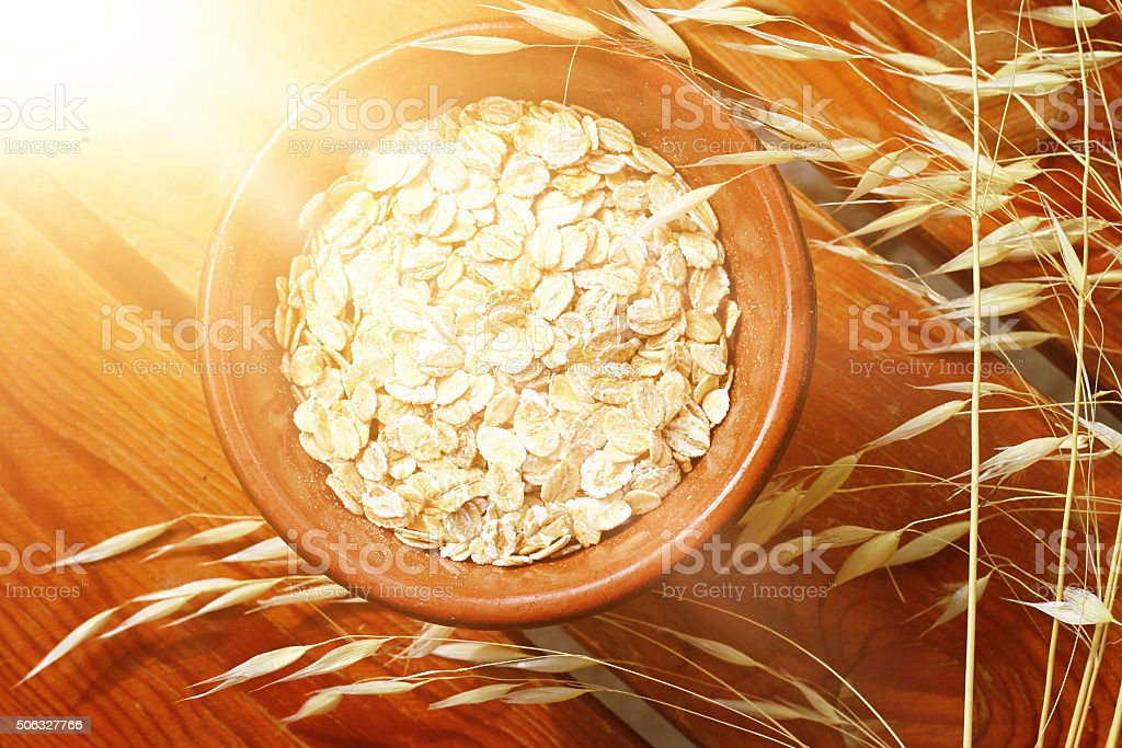 Oats cereal, cereals, rustic, wooden, background, diet breakfast, healthy lifestyle stock photo