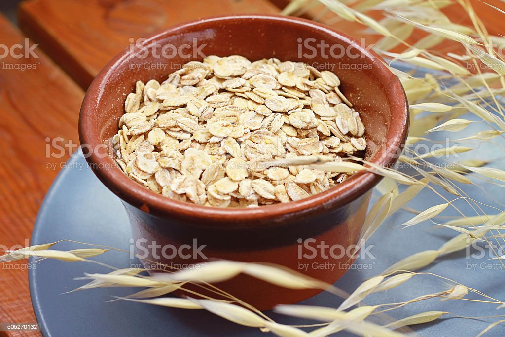 Oats cereal, diet breakfast, healthy lifestyle stock photo
