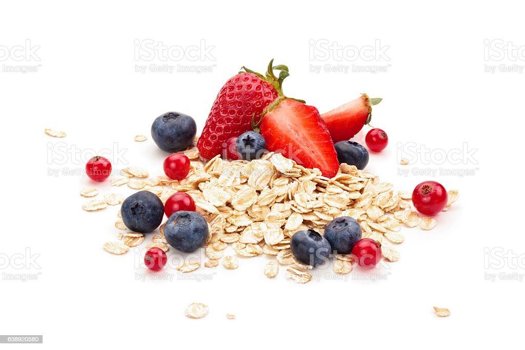 Oats, fruits and honey. stock photo