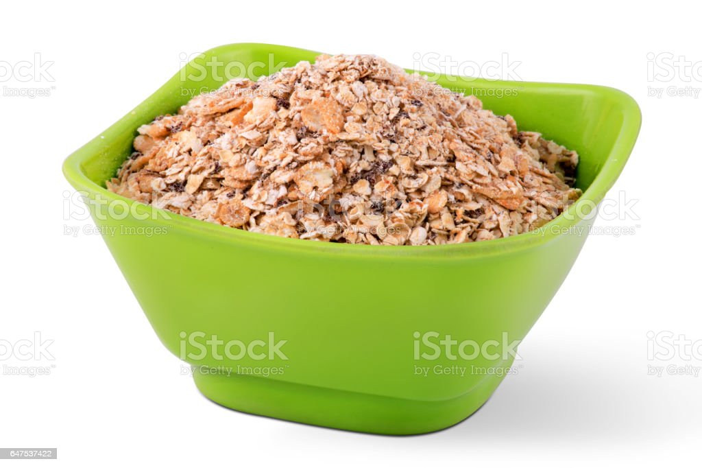 Oats In A Bowl Isolated On White Background stock photo