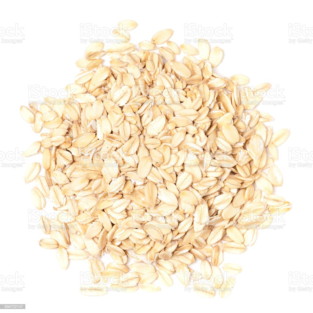 Oats on white by top view stock photo