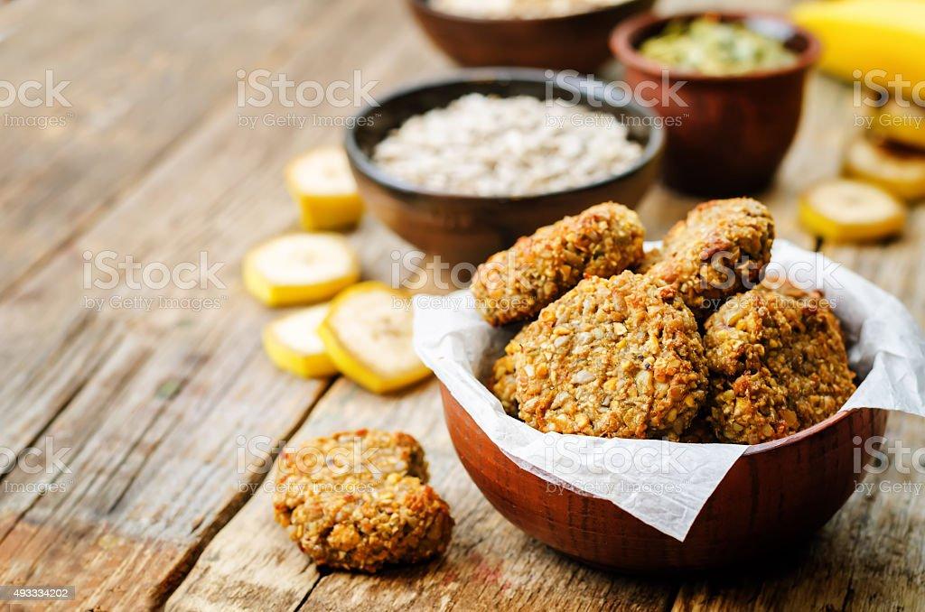 oats pumpkin and sunflower seeds banana cookies. gluten-free stock photo