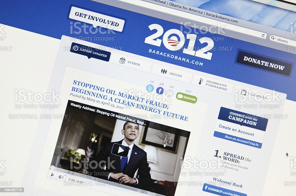 Obama for America official web page royalty-free stock photo