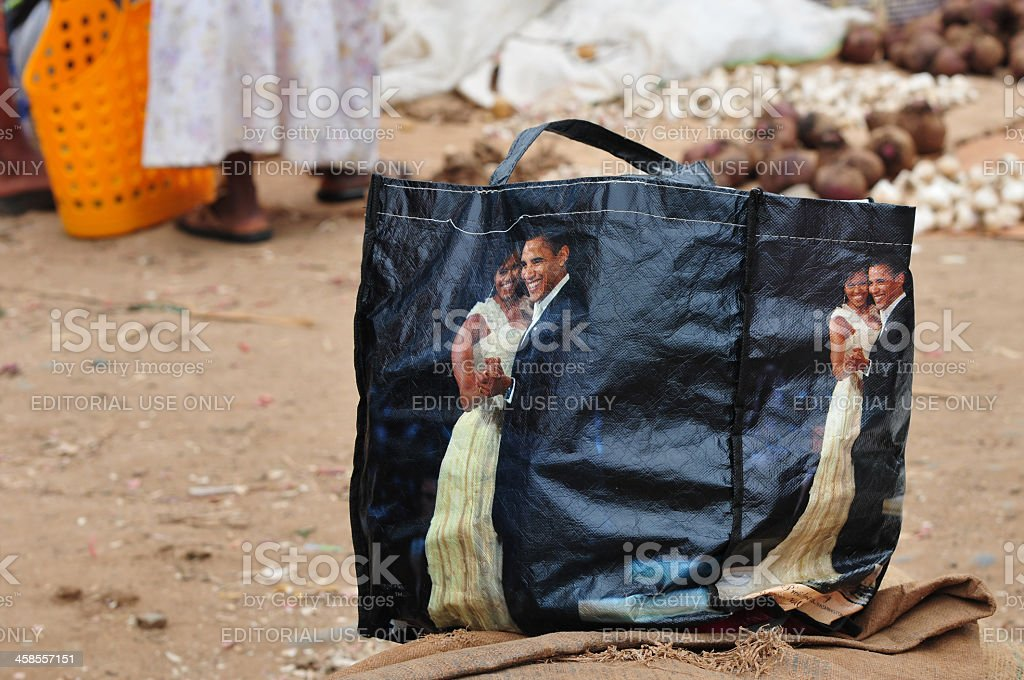 Obama inaugural dance on bag in African market stock photo