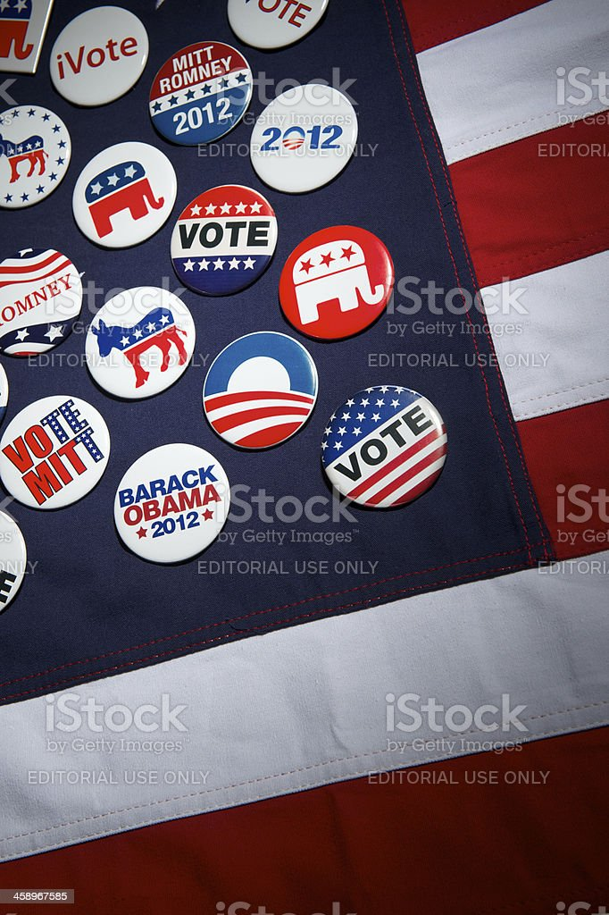 Obama Romney Republican Democrat American Presidential Election Campaign Buttons Flag stock photo