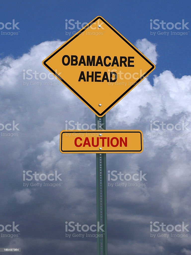 obamacare ahead caution conceptual post stock photo