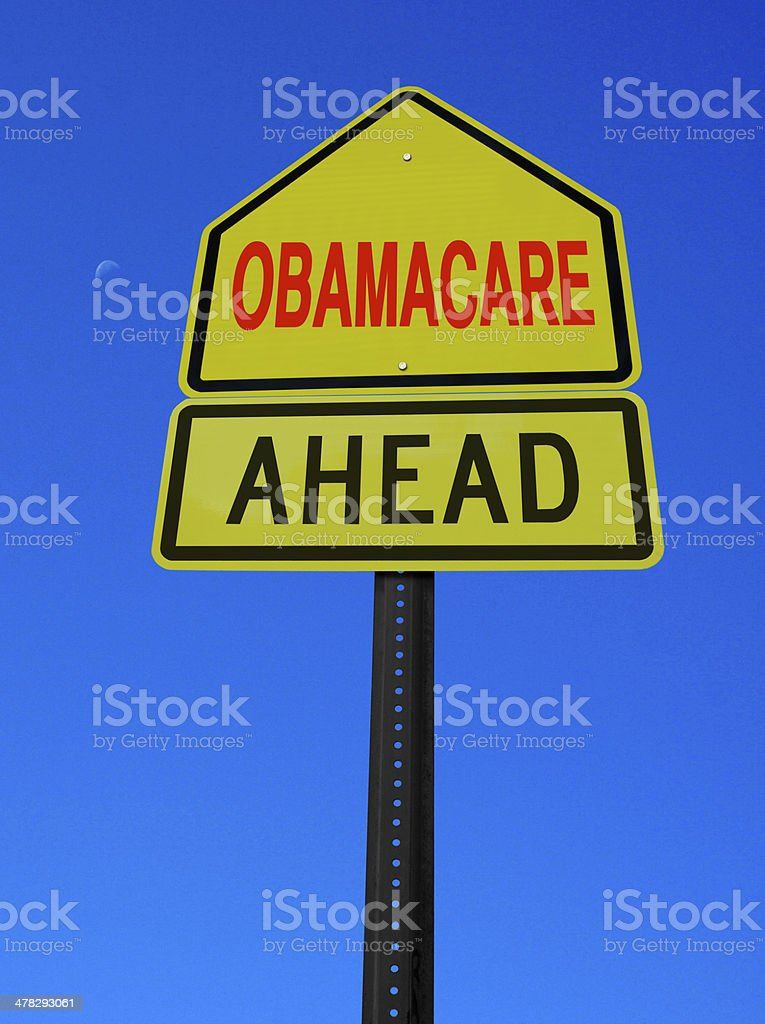 obamacare ahead conceptual post stock photo
