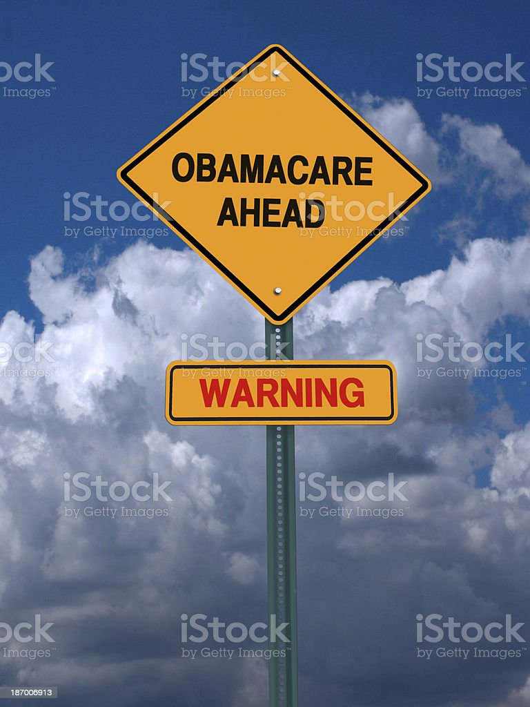 obamacare ahead warning conceptual post stock photo