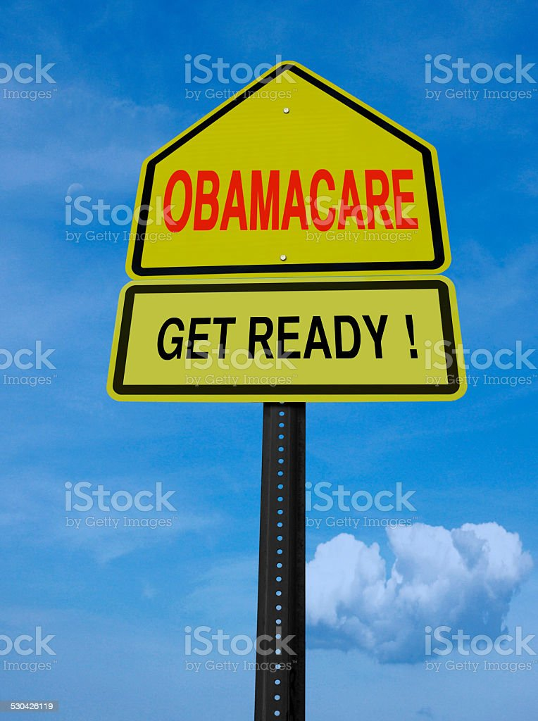 obamacare get ready conceptual post stock photo