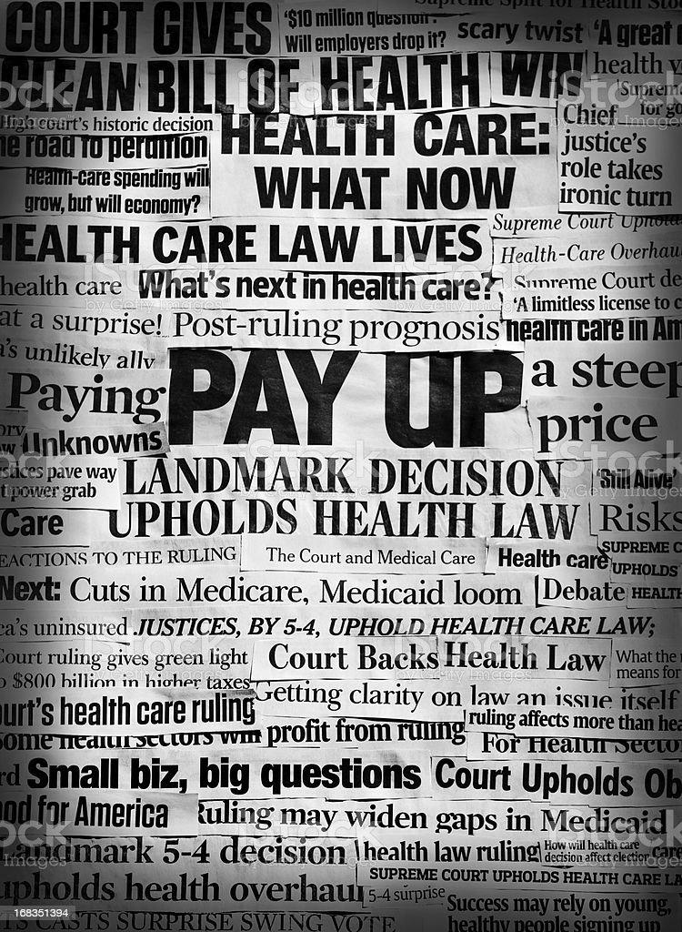 Obamacare lives bw headline collage stock photo