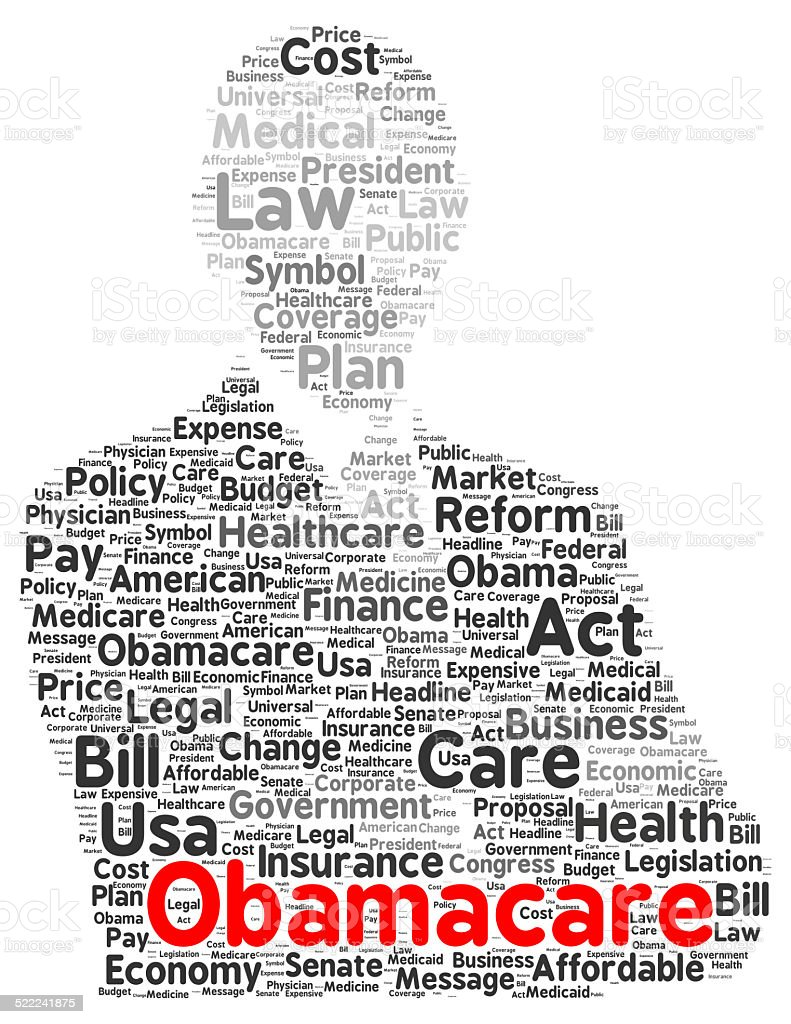 Obamacare word cloud shape stock photo