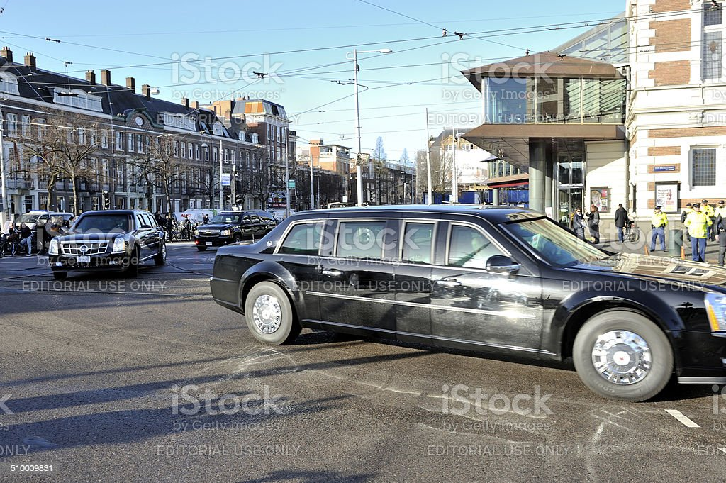 Obama's presidential limousines drive past Amsterdam Concertgebouw stock photo