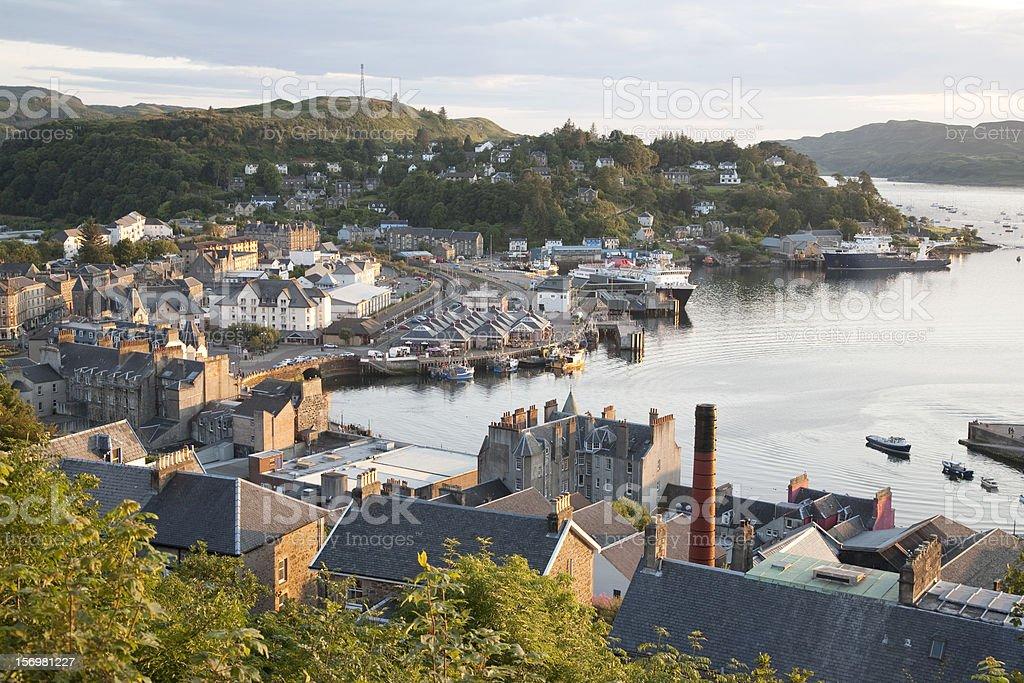 Oban Harbor in Scotland stock photo