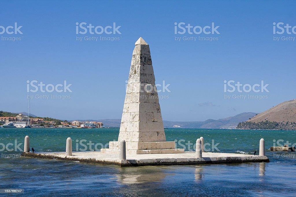 Obelisk, Drapano Bridge, Argostoli stock photo
