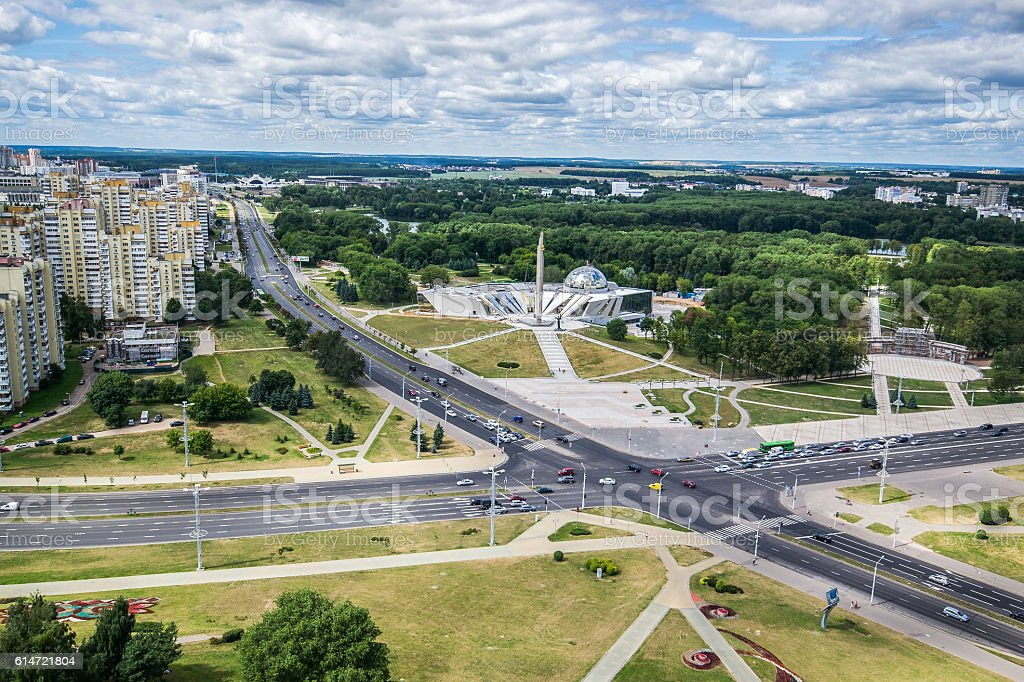 Obelisk 'Hero city Minsk' and Belarusian Great Patriotic War Museum stock photo