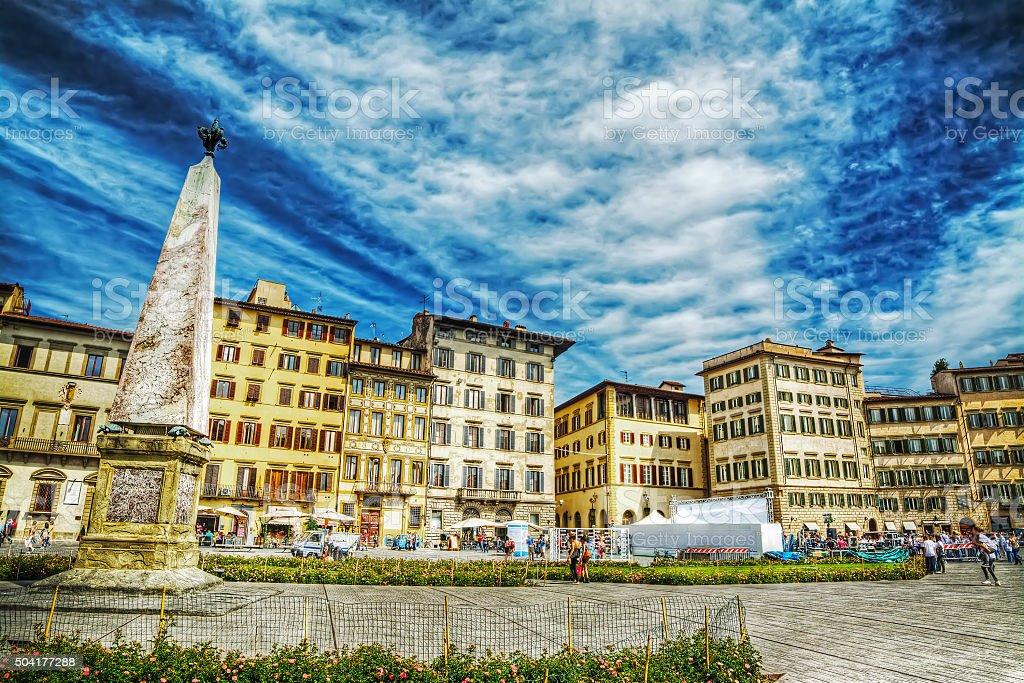 obelisk in Santa Maria Novella square in Florence stock photo
