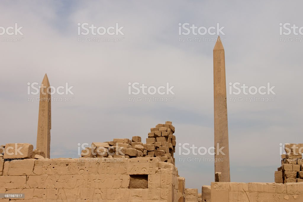 obelisk of the Temple Luxor royalty-free stock photo