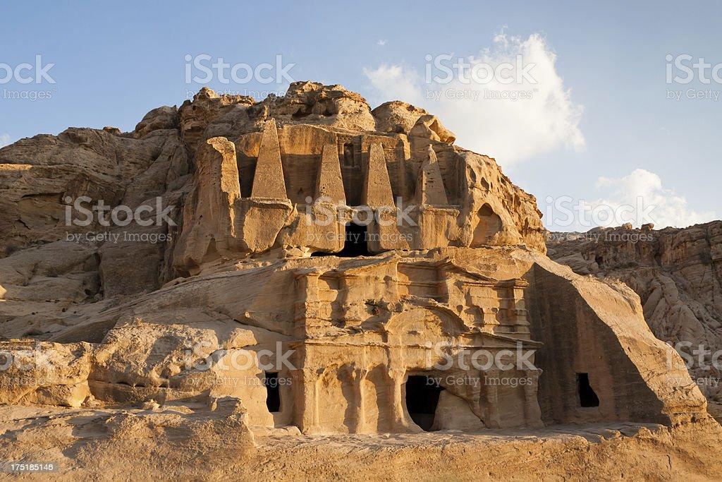 Obelisk Tomb at Petra in Jordan royalty-free stock photo