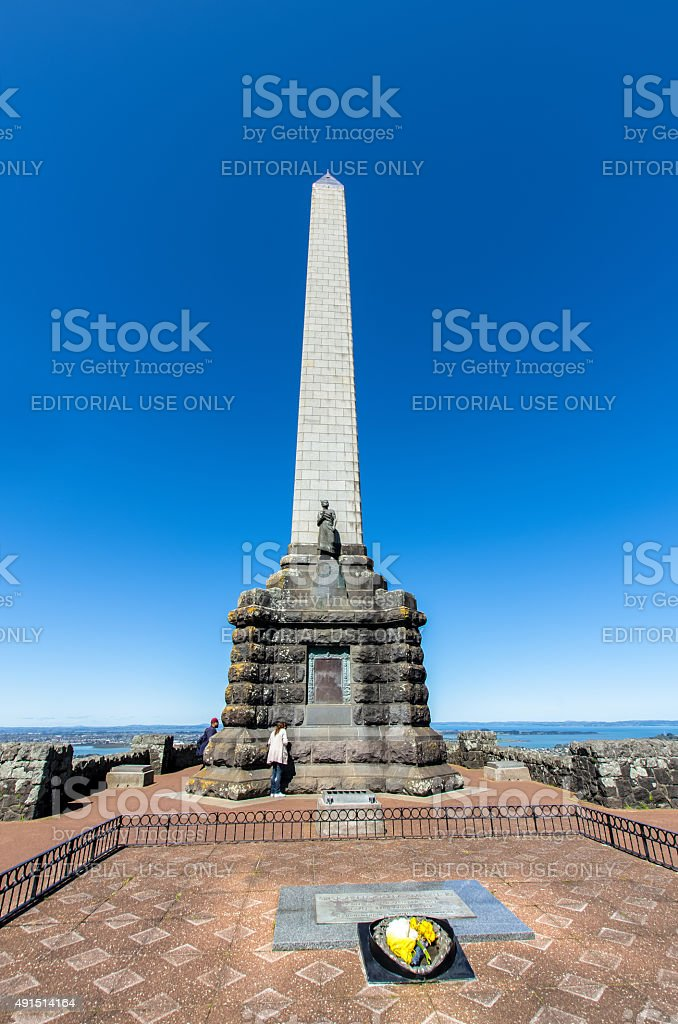 Obelisk which is located on One Tree Hill, Auckland. stock photo