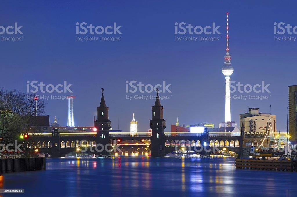 oberbaum bridge and tv tower stock photo