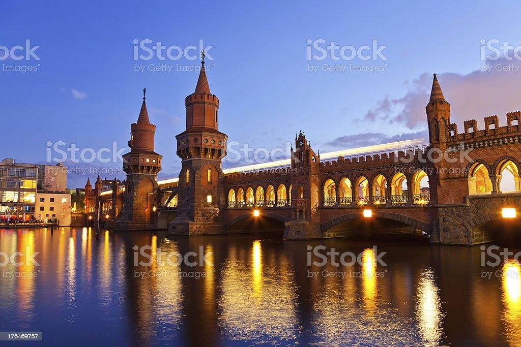 Oberbaum bridge at Berlin stock photo