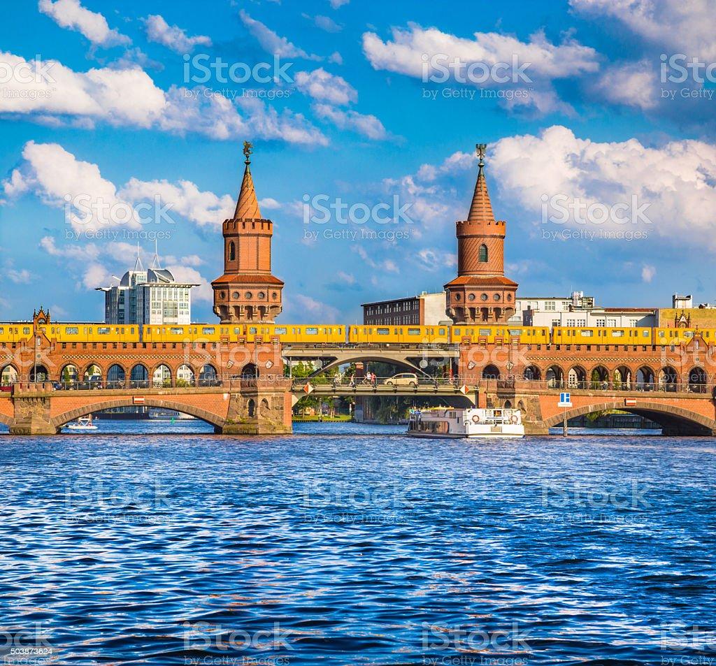 Oberbaum Bridge with Spree river, Berlin, Germany stock photo
