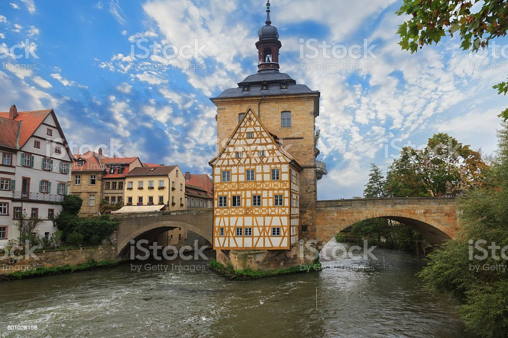Obere bridge (brucke) and Altes Rathaus and cloudy sky stock photo