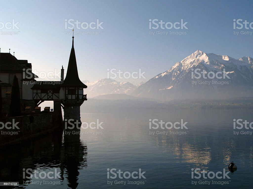 Oberhofen Castle and lake Thunersee, Switzerland stock photo