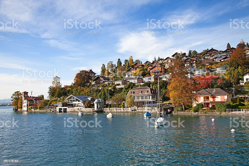 Oberhofen village stock photo
