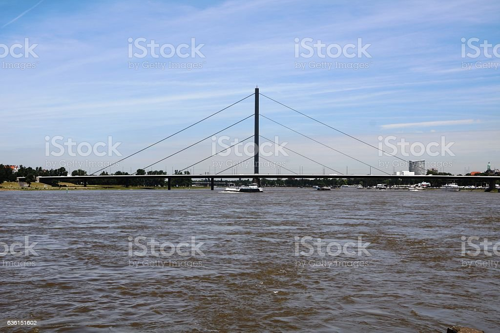 Oberkasseler bridge over River Rhine in Düsseldorf, Germany stock photo