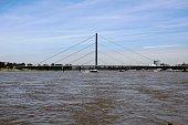 Oberkasseler bridge over River Rhine in Düsseldorf, Germany