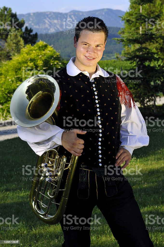 Oberkrainer Musician with Tube, Stanjel, Slovenia, Europe royalty-free stock photo