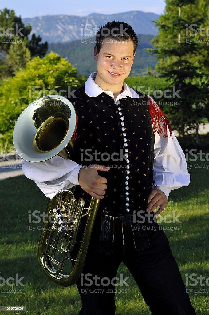 Oberkrainer Musician with Tube, Stanjel, Slovenia, Europe stock photo