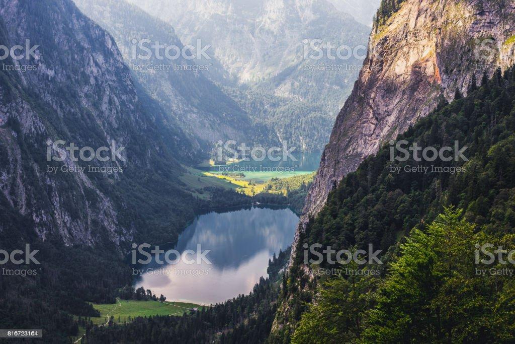 Obersee and Koenigssee near Berchtesgaden stock photo